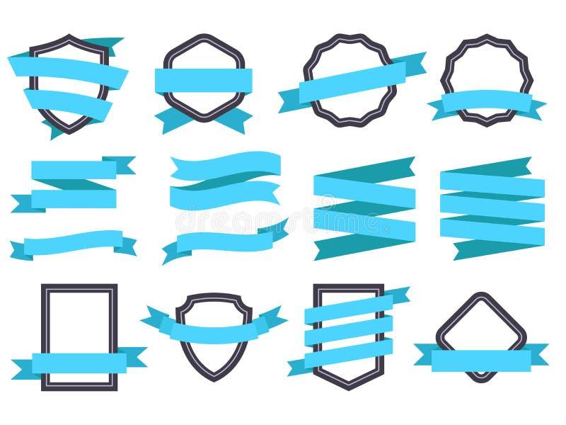 Lintbanner Kaders en linten blauwe vlak geïsoleerde vectorreeks stock illustratie