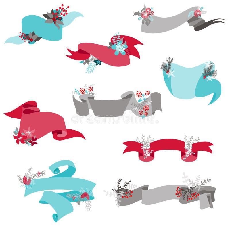 Lintbanners met Kerstmiselementen stock illustratie