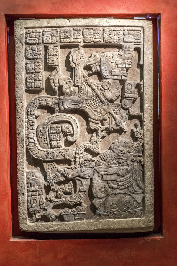 Lintel with Aztec relief carving from Mexico at the British Museum. London, England royalty free stock photos