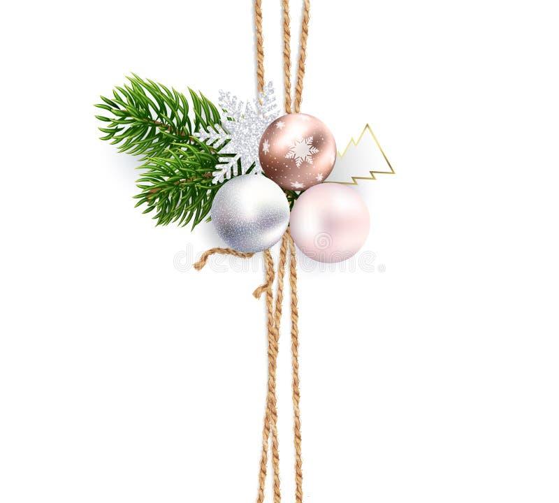 Linten van jutekabel voor Kerstmisdecoratie stock illustratie