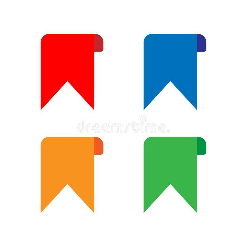 Linten in vlakke stijl Vlakke vectorlintenbanners Vectorreeks kleurrijke linten stock illustratie