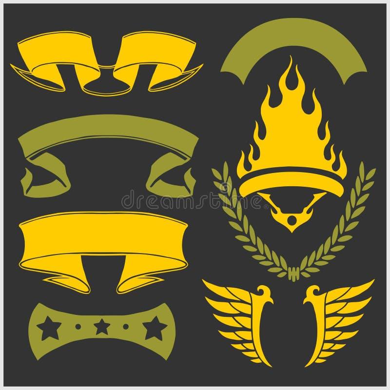 Linten, vleugels en kroon vector illustratie