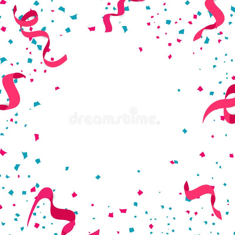 Lintenconfettien, document verspreiding en exploderend vierkant kader celeb vector illustratie