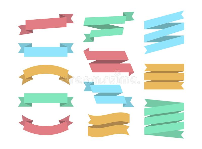 Lintenreeks van 12 bunners Kleurrijke vastgestelde Ribbin De vlakke inzameling van ontwerp grafische elementen Vectorlinten en ba stock illustratie