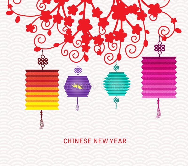 Linterna china abstracta y fondo del Año Nuevo ilustración del vector