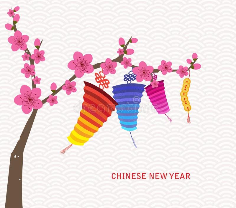 Linterna china abstracta y fondo del Año Nuevo libre illustration
