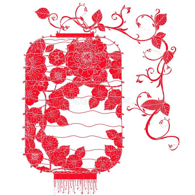 Linterna china en árbol stock de ilustración