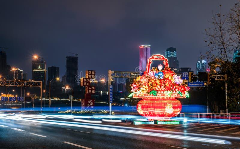 Linterna china tradicional de la flor en el festival de primavera imagen de archivo libre de regalías