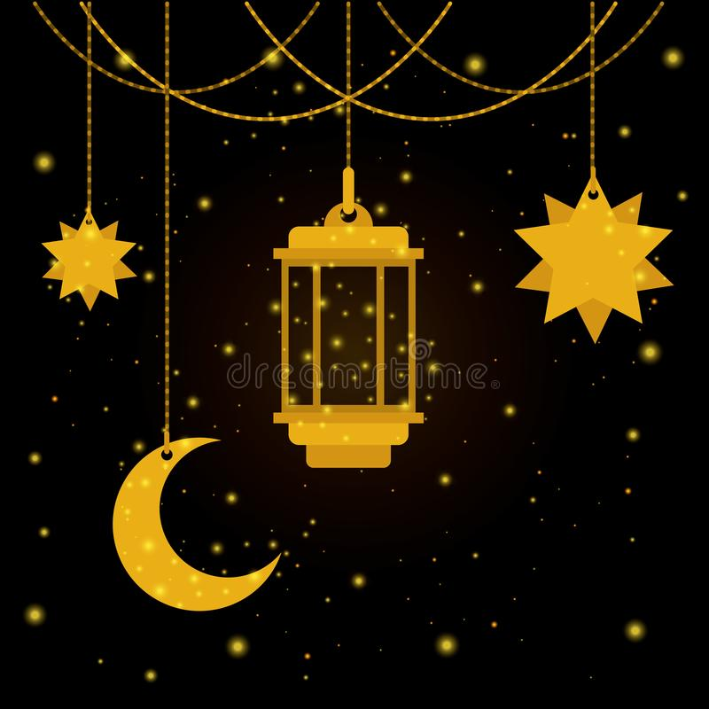 Linterna de Eid Mubarak con la luna y las estrellas stock de ilustración