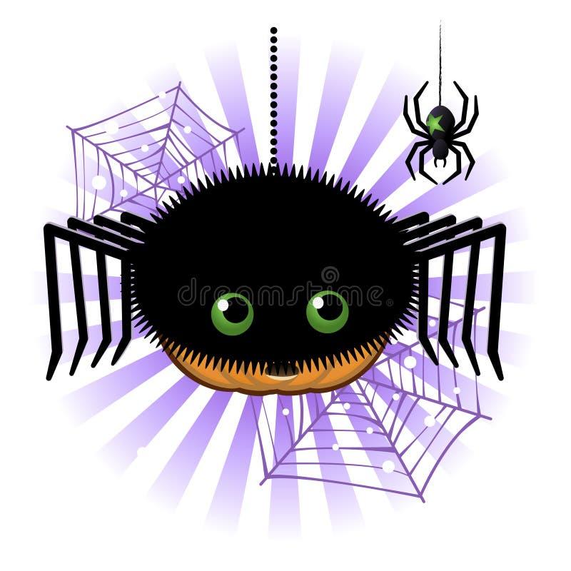 Linterna de Gato o de la calabaza de Víspera de Todos los Santos en traje de la araña stock de ilustración