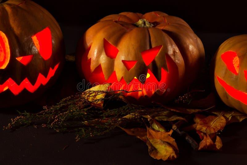 Linterna de la calabaza de Halloween con las hojas secas con las velas ardientes fotografía de archivo