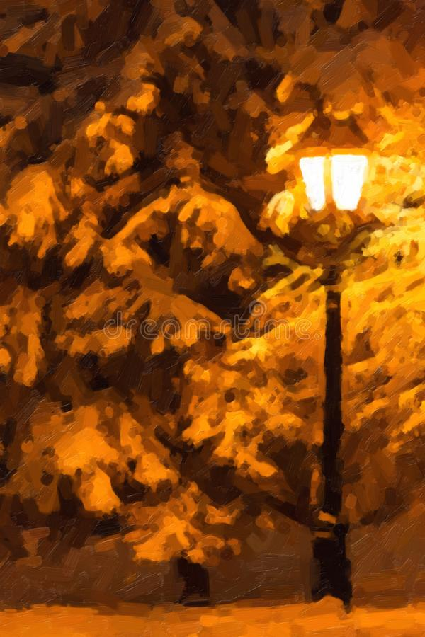 Linterna de la calle y árbol de abeto debajo de la nieve libre illustration
