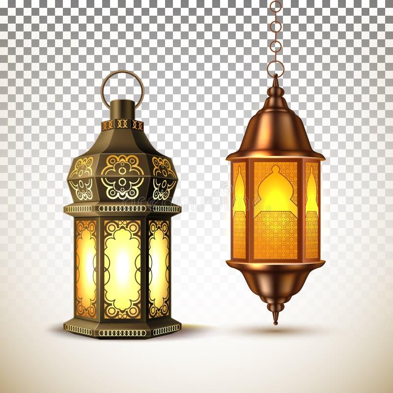 Linterna de la lámpara del kareem del Ramadán del vector realista ilustración del vector