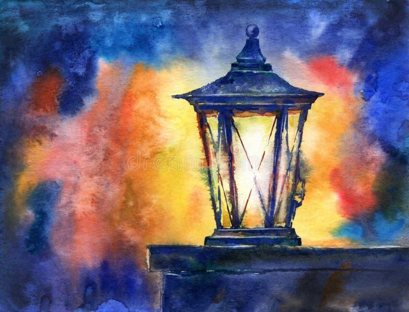 Linterna de la Navidad Ejemplo dibujado mano de la acuarela stock de ilustración
