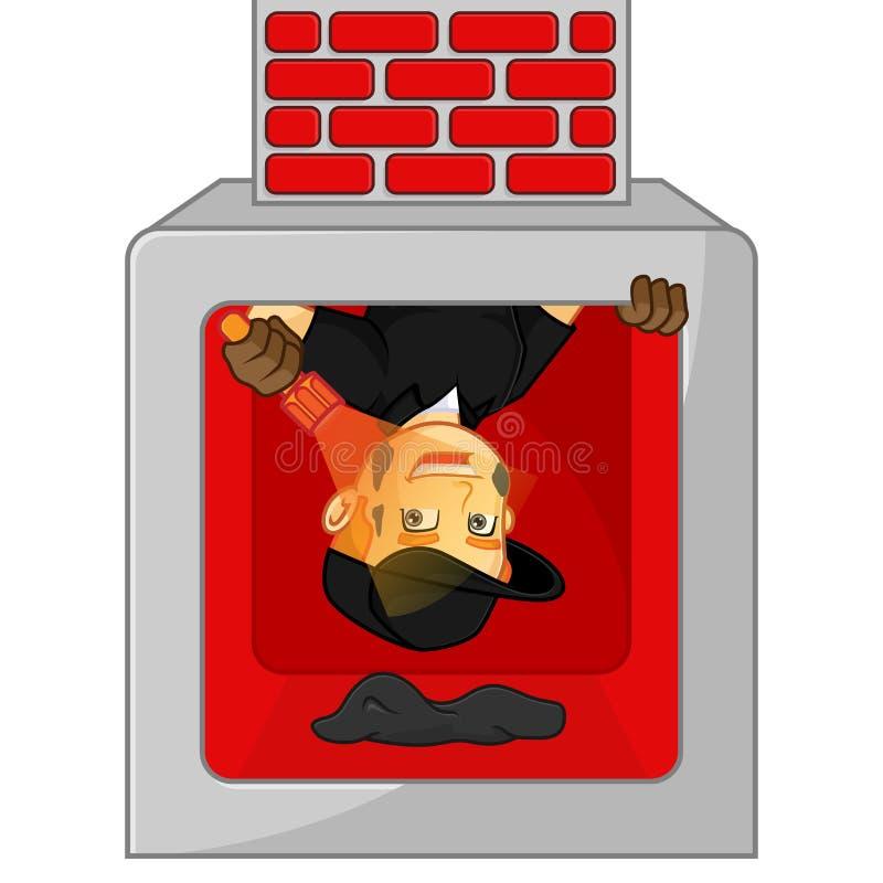 Linterna de limpieza del control de la chimenea del barrendero de la chimenea stock de ilustración