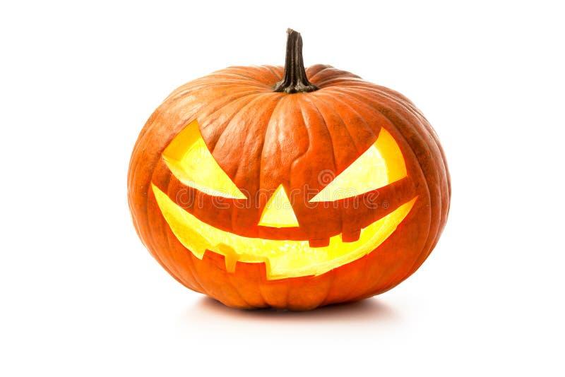 Linterna del enchufe de la cabeza de la calabaza de Halloween imagenes de archivo