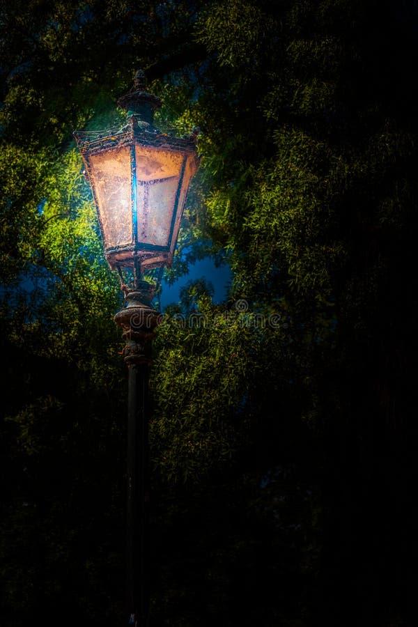 Linterna en el parque Foto del fondo fotografía de archivo libre de regalías