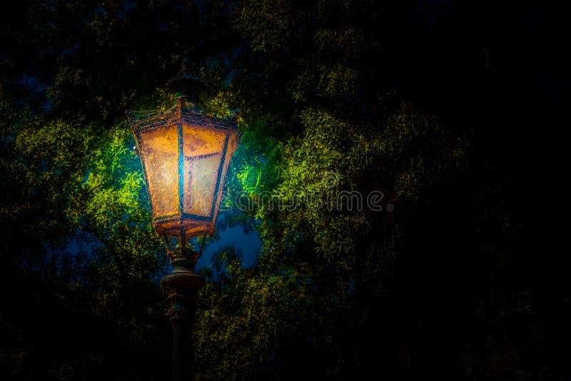 Linterna en el parque Foto del fondo imagen de archivo libre de regalías