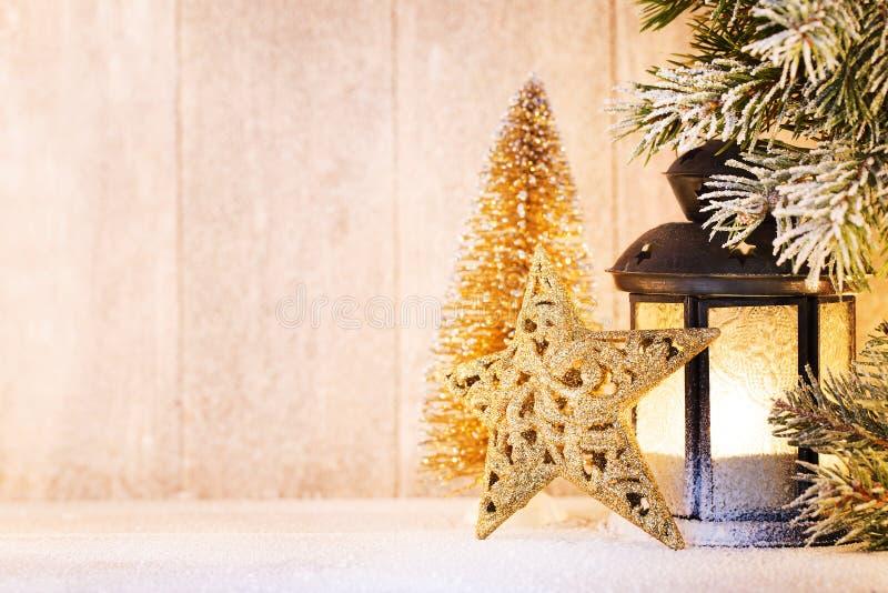 Linterna Luz de la Navidad, decoración de la Navidad y escena imagenes de archivo