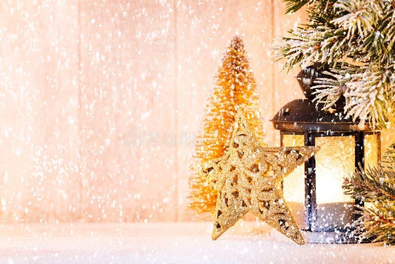 Linterna Luz de la Navidad, decoraci?n de la Navidad y escena imágenes de archivo libres de regalías