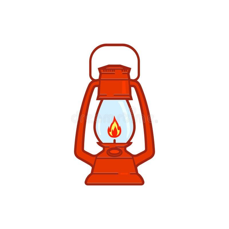 Linterna que acampa del vintage aislada en el fondo blanco Lámpara de gas retra con la mecha del fuego que brilla intensamente libre illustration