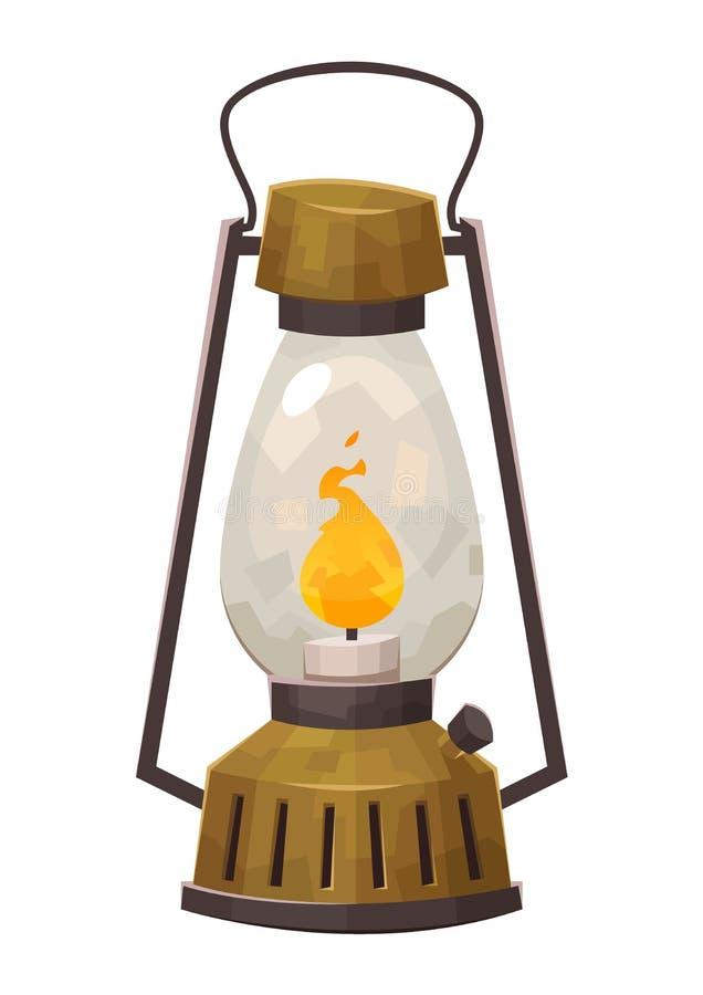 Linterna que acampa del vintage aislada en la lámpara de gas retra del fondo blanco para caminar ilustración del vector