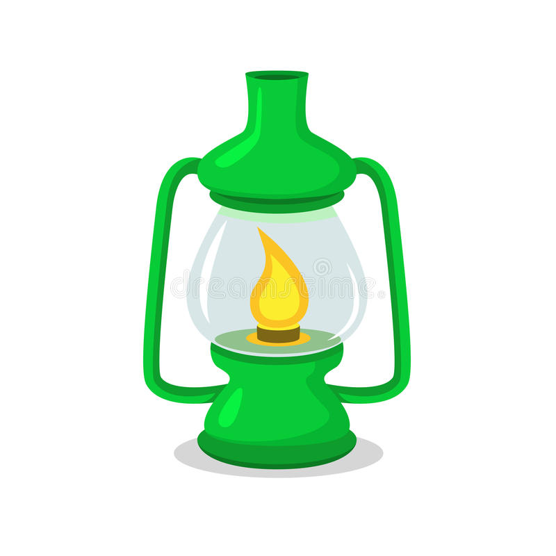 Linterna que acampa verde del vintage en blanco en estilo del plano y de la historieta ilustración del vector