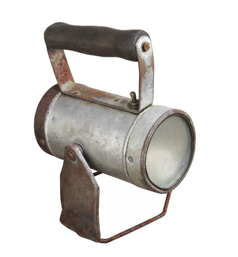 Linterna vieja de la batería con la manija aislada. imagen de archivo libre de regalías