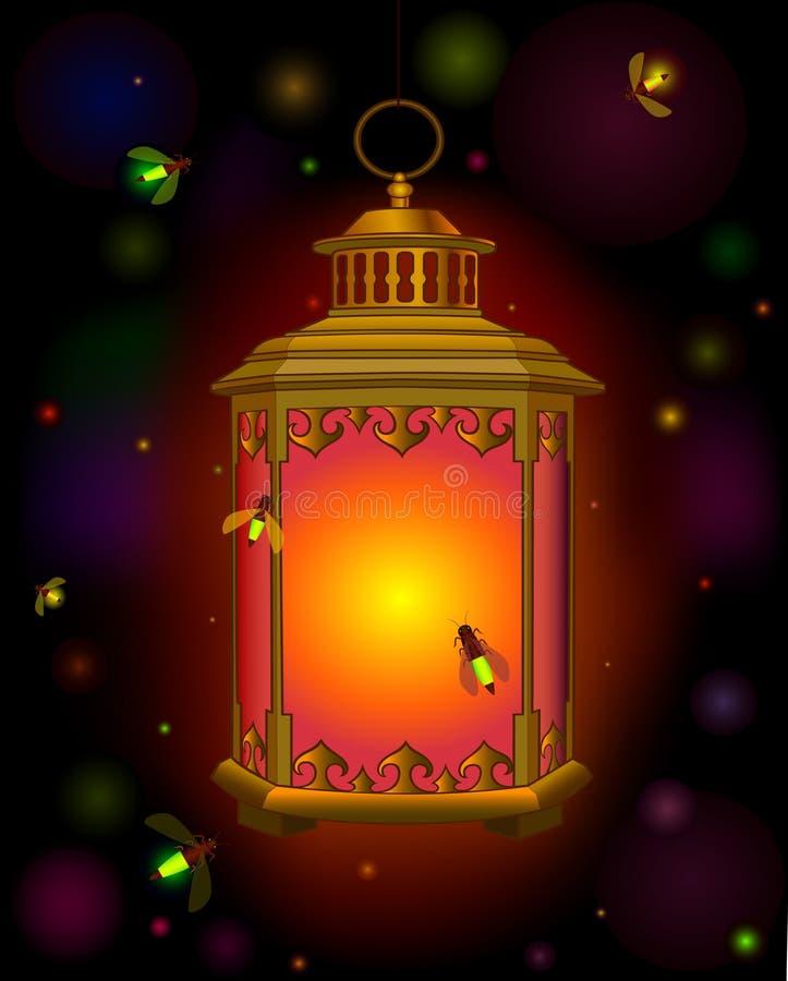 Linterna vieja Luz anaranjada en oscuridad ramadan luciérnagas de los escarabajos libre illustration