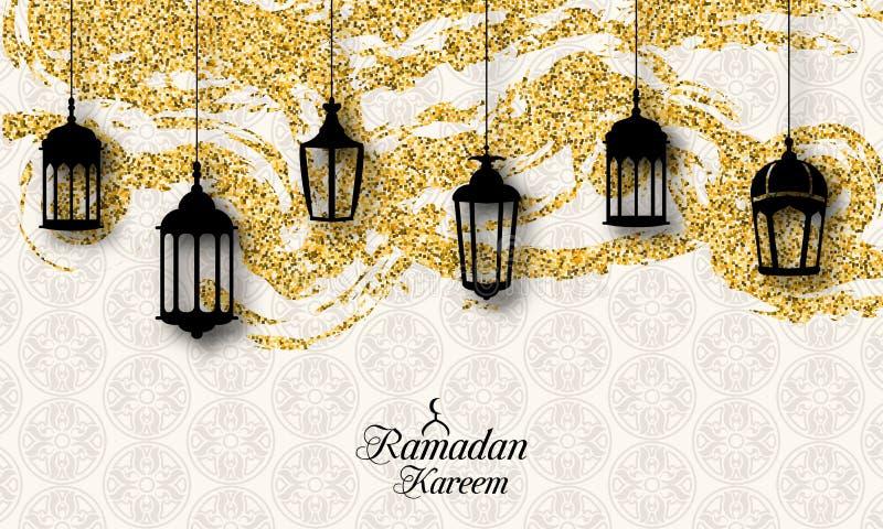 Linternas árabes, Fanoos para Ramadan Kareem, tarjeta islámica del brillo stock de ilustración