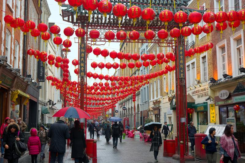 Linternas chinas del Año Nuevo, Soho, Londres, Reino Unido imágenes de archivo libres de regalías