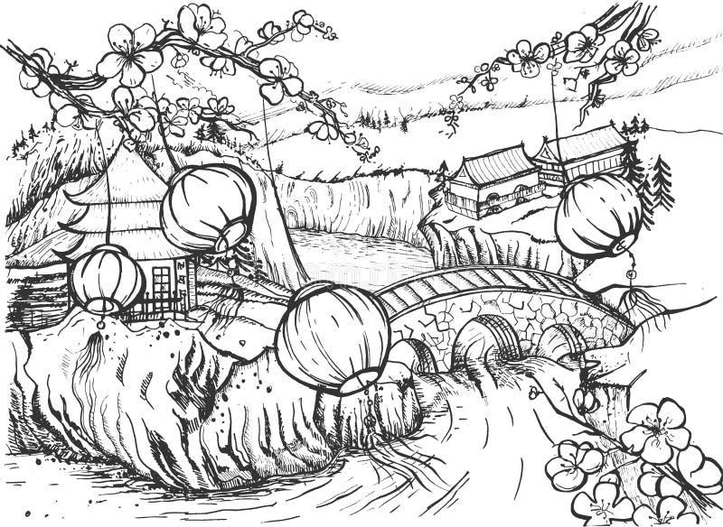 Linternas chinas en paisaje rural ilustración del vector