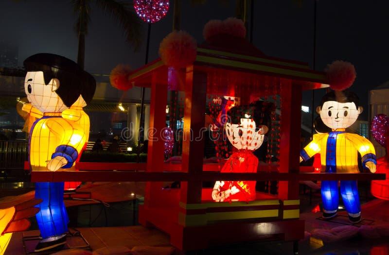 Linternas chinas que muestran escena de la boda imágenes de archivo libres de regalías