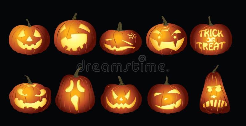Linternas de la calabaza de Halloween en la noche ilustración del vector