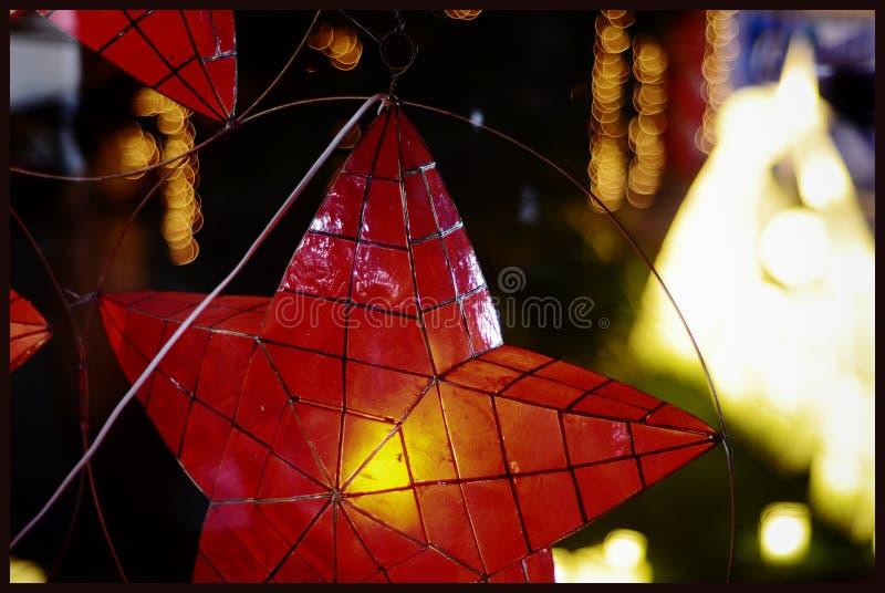 Linternas de la estrella de la Navidad foto de archivo libre de regalías