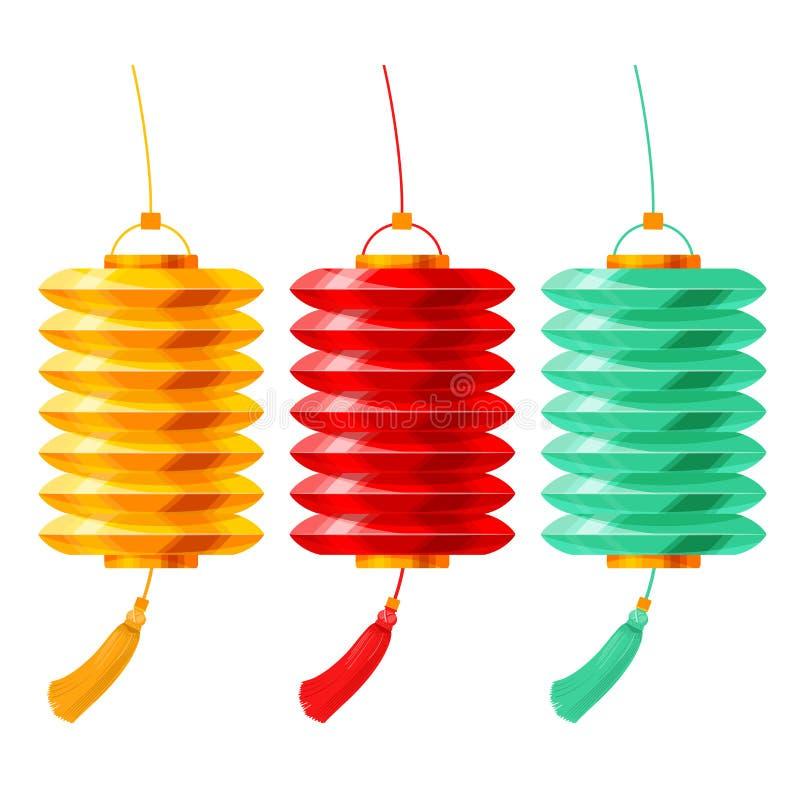 Linternas de papel chinas fijadas libre illustration