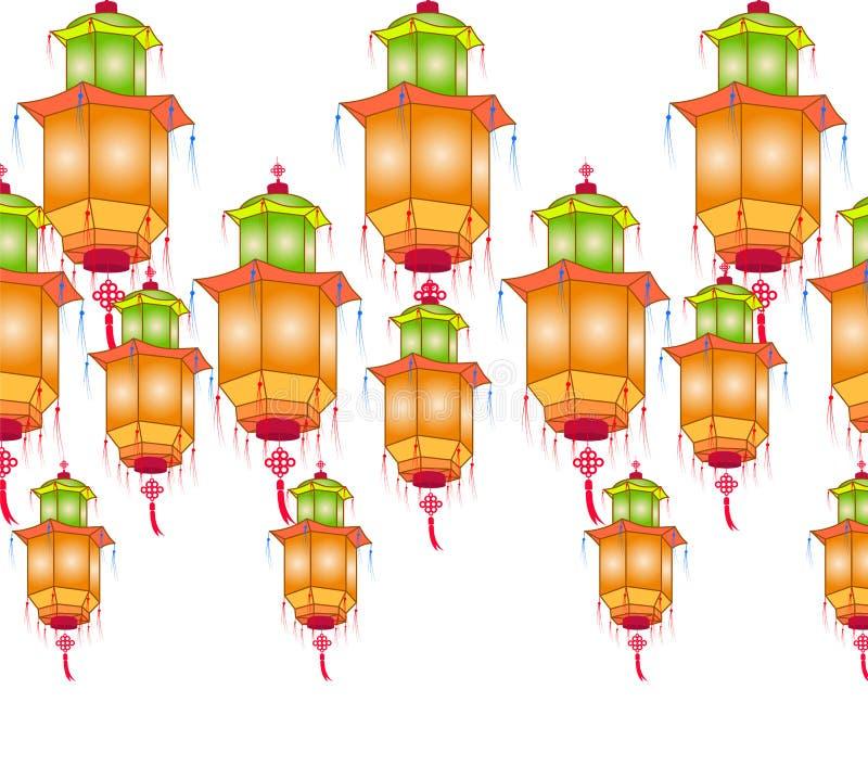 Linternas de papel chinas para el mediados de festival del otoño en un fondo blanco ilustración del vector