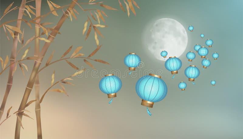 Linternas de papel chinas que vuelan ilustración del vector