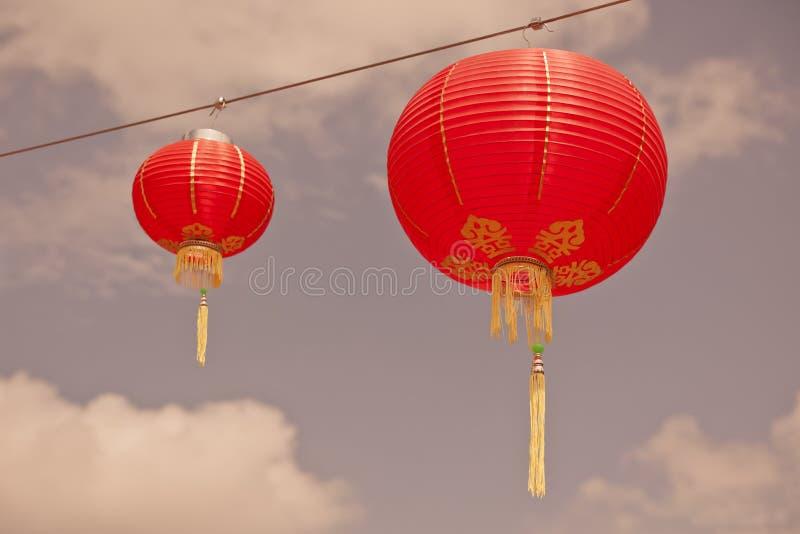 Linternas de papel chinas rojas fotos de archivo libres de regalías