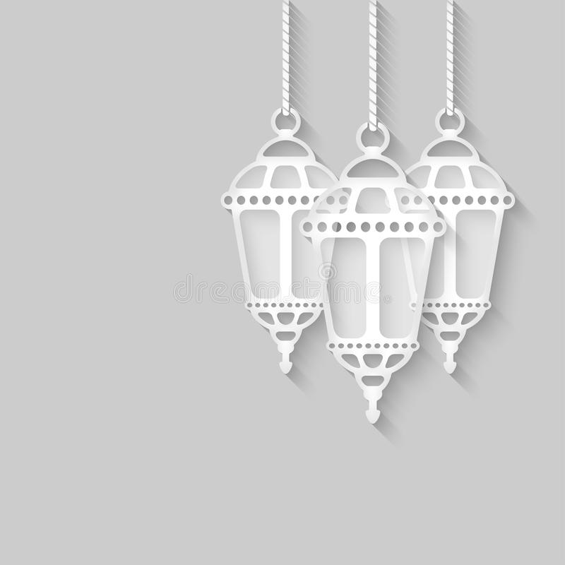 Linternas de papel en fondo gris libre illustration