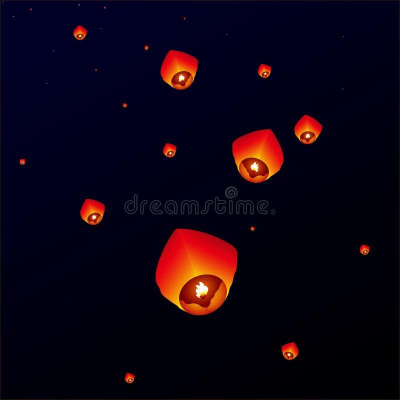 Linternas del cielo, linternas que vuelan libre illustration