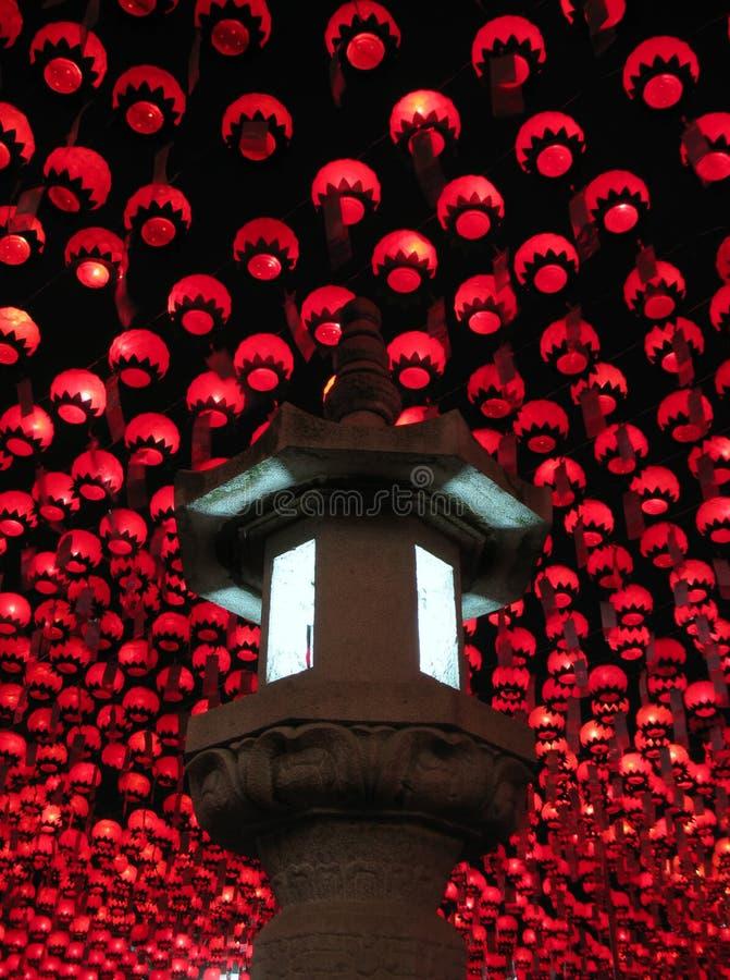 Linternas en el cumpleaños de Buddha, Seul, Corea fotografía de archivo libre de regalías