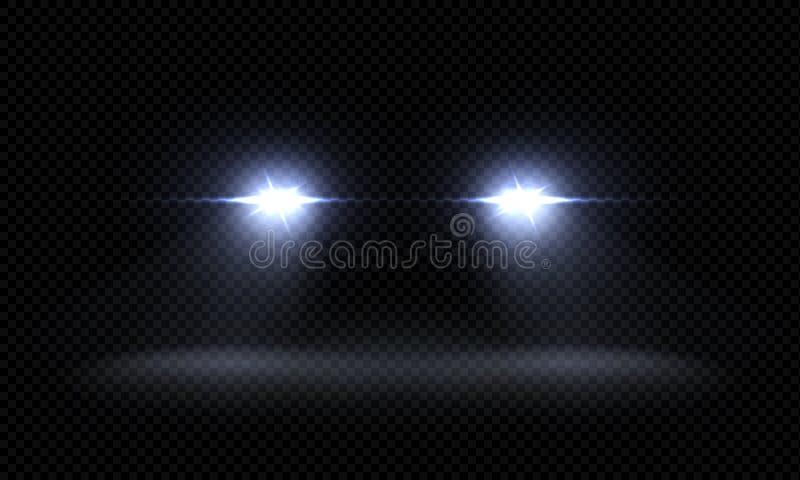 Linternas realistas del coche Haces luminosos delanteros del tren, rayos ligeros que brillan intensamente brillantes transparente libre illustration