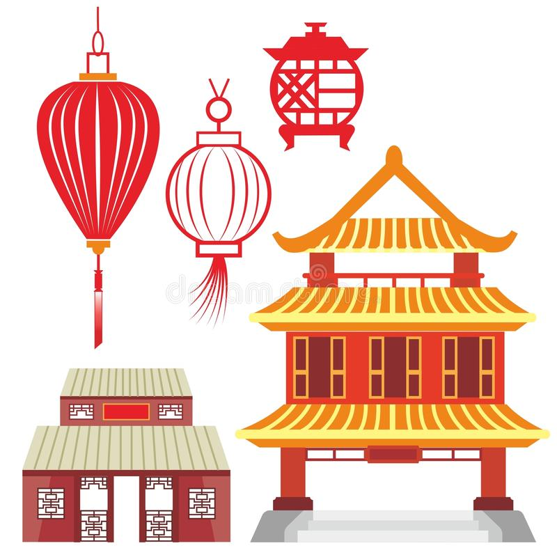 Linternas y templos chinos en vectores imagen de archivo