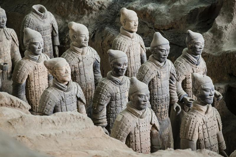 Terracota Army of the first emperor of China. Lintong, Xi`an, Shaanxi/China- October 15 2014: China`s famous Terracotta Warriors. The Terracotta Army is the stock image