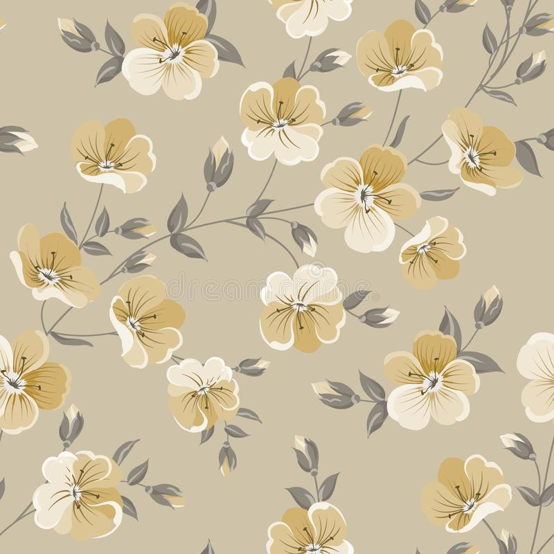 Linum seamless pattern for fabric swatches. Pattern with red flowers and small leaves. royalty free illustration