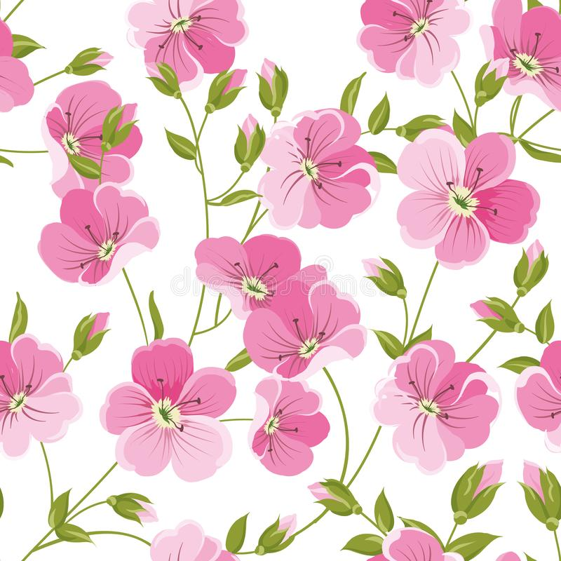 Linum seamless pattern for fabric swatches. Pattern with red flowers and small leaves. stock illustration