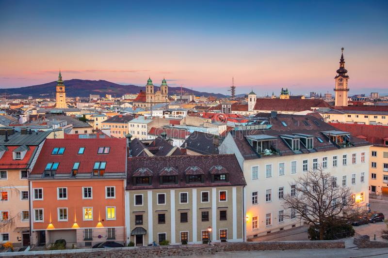 Linz, Austria. Aerial cityscape image of Linz, Austria during sunset stock photography