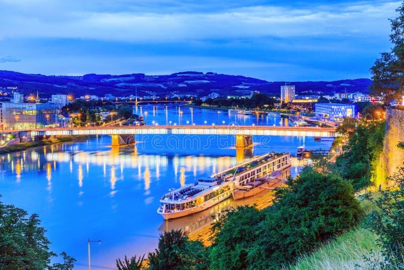 Linz, Austria. Nibelungen bridge over the Danube river stock images
