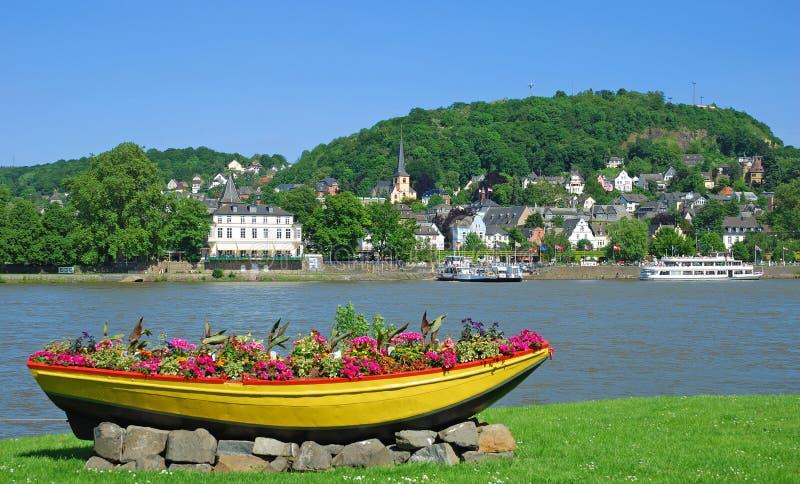 Linz, Rijn, de Vallei van Rijn, Duitsland stock foto's